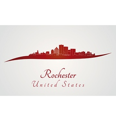 Rochester skyline in red vector