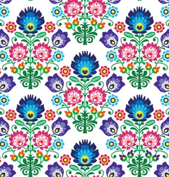 Seamless Polish Slavic folk art floral pattern vector image