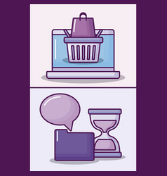 set laptop computer with electronic business icons vector image
