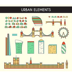 Set objects to create a panorama of London England vector