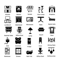 Set of interior and decoration glyph icons 1 vector