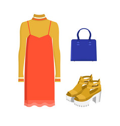 set of modern summer clothes isolated on white vector image