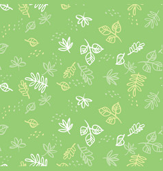 simple green leaves seamless pattern vector image