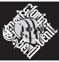 Sliced surreal Skull with gothic lettering vector image