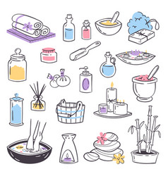 spa massage therapy cosmetic treatments icons vector image