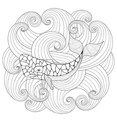Sperm Whale in waves zentangle style Freehand vector image