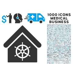 Steering wheel house icon with 1000 medical vector
