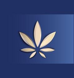 stylish cannabis marijuana hemp leaf flat symbol vector image