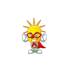 super hero icon lamp cartoon character with mascot vector image