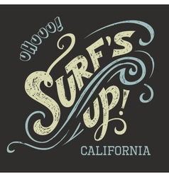 Surfs Up hand-lettering tee vector