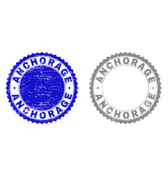 Textured anchorage scratched stamps vector