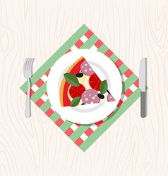Top view of a slice of pizza on a plate Cutlery vector image