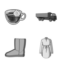Transport shoes and other monochrome icon in vector