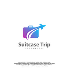 Travel logo with suitcase and airplane travel vector