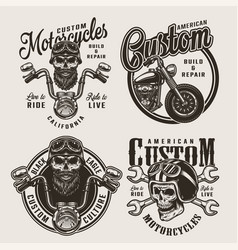 vintage monochrome custom motorcycle badges vector image