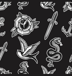 vintage seamless pattern with snakes swallows vector image