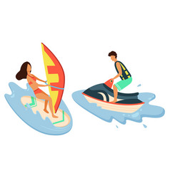 water bike girl surfboarder isolated summer sport vector image
