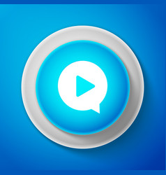 white play in circle icon on blue background vector image