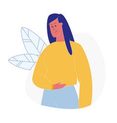 Woman having abdominal pain flat vector