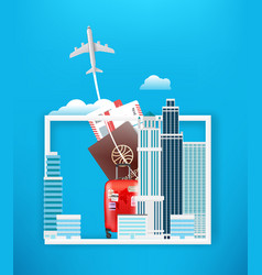 world travel concept with skyscrapers vector image