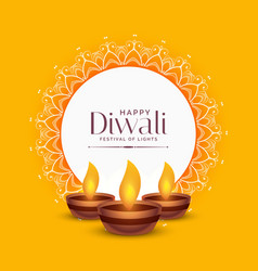 Yellow diwali festival greeting design with three vector