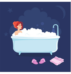 young girl taking a bath before going to sleep vector image