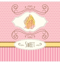 Cake hand drawn card with vector image