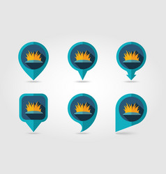 Grass flat mapping pin icon with long shadow vector
