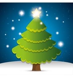Happy merry christmas tree pine vector