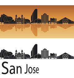 San Jose skyline in orange background vector image vector image