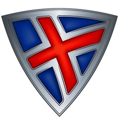 steel shield with flag iceland vector image vector image