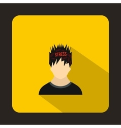 Word stress in the head of man icon flat style vector image