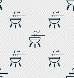 barbecue icon sign Seamless pattern with geometric vector image