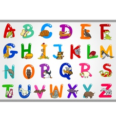 Cartoon Alphabet with Animals vector image vector image