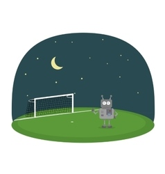 Cartoon of robot on a soccer field under vector image