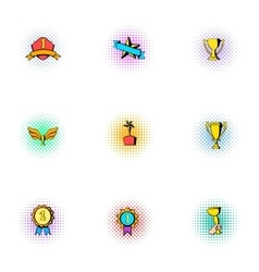 Competition icons set pop-art style vector image vector image
