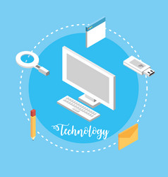 Computer technology with data services connect vector