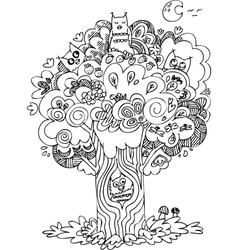 funny tree with cute howls vector image