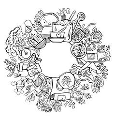 green tea circle doodles sketched green tea vector image vector image