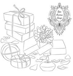 handmade soaps line art vector image