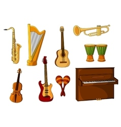 Large set of various musical instruments vector image vector image