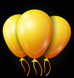 Realistic yellow balloons with ribbon isolated vector