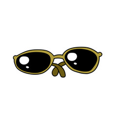 sunglasses cartoon hand drawn image vector image