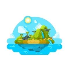 Uninhabited island in ocean vector image