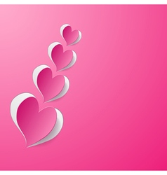 background with pink paper hearts vector image