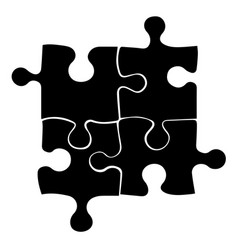 black four puzzle icon on white background vector image