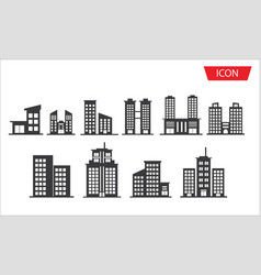 buildings icon set city symbols vector image vector image