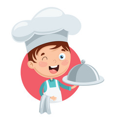 chef kid cooking vector image