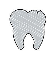 Color crayon stripe cartoon tooth with cracks vector