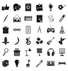 creative working icons set simple style vector image